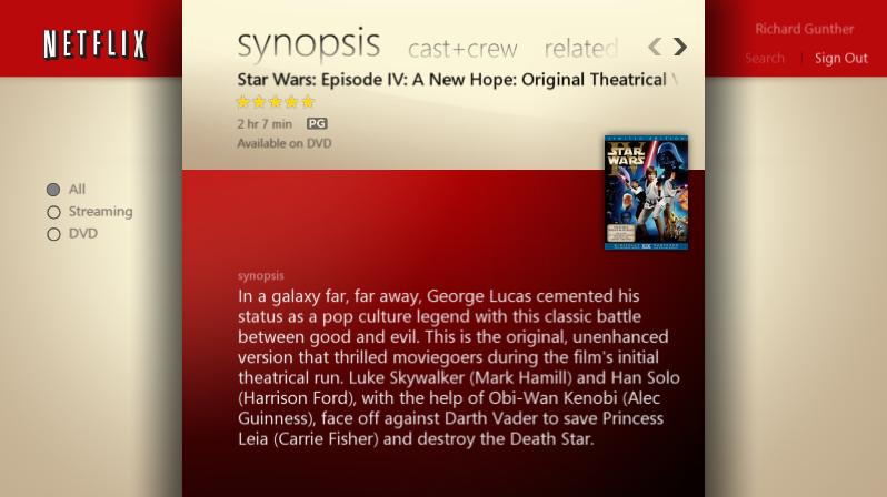 DVD show in Media Center's Netflix plug-in